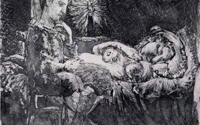 Boy Watching Sleeping Woman by Candlelight