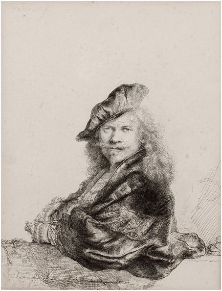Rembrandt-van-Rijn-Self-portrait-leaning-on-a-stone-sill-1639-etching-on-paper